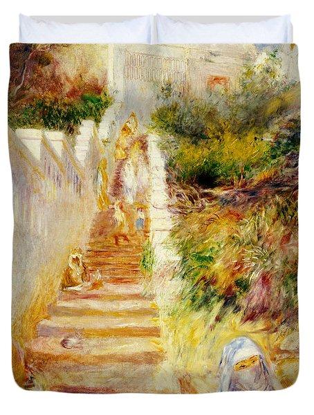 The Steps In Algiers Duvet Cover by Pierre Auguste Renoir