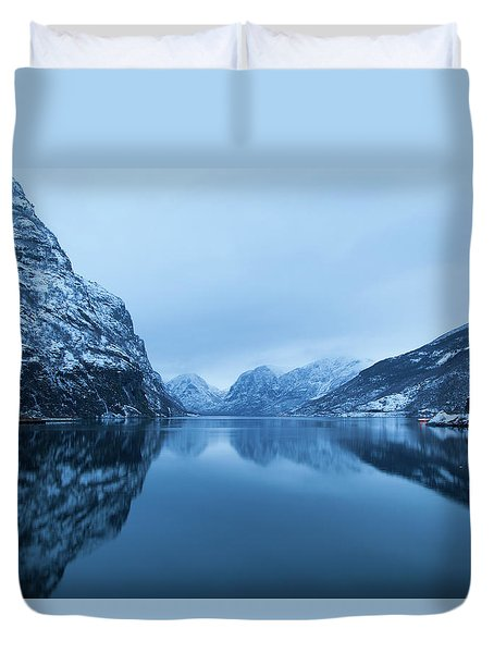 Duvet Cover featuring the photograph The Stillness Of The Sea by David Chandler