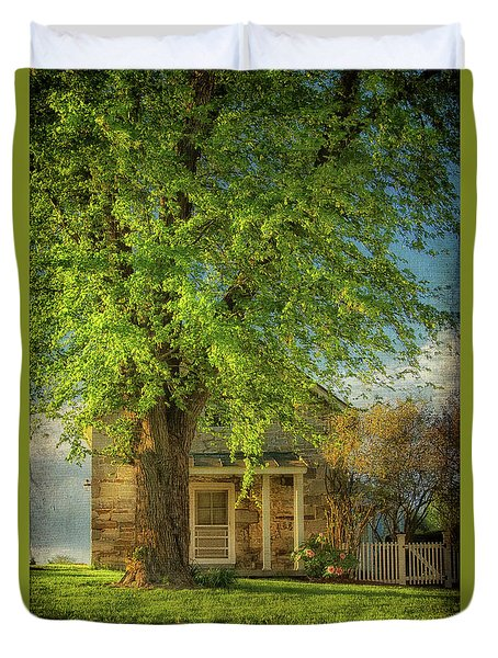 Duvet Cover featuring the photograph The Stone Cottage On A Spring Evening by Lois Bryan