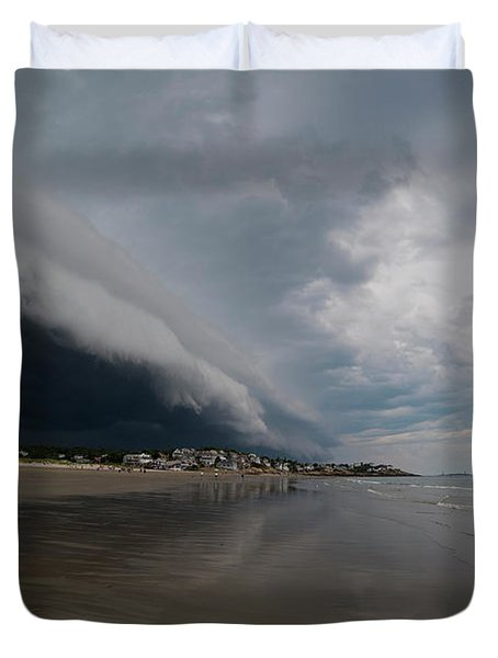 The Storm Rolling In To Good Harbor Beach Gloucester Ma Duvet Cover