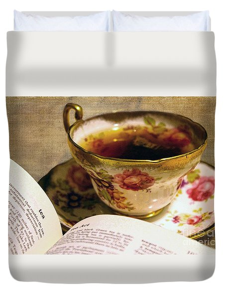 The Story Of Tea Duvet Cover by Nina Silver