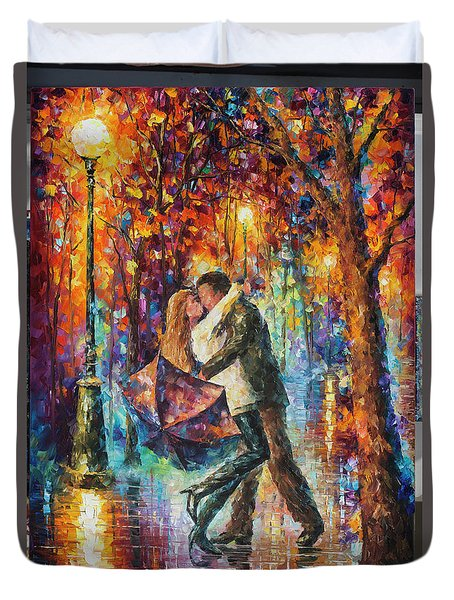 The Story Of The Umbrella Duvet Cover by Leonid Afremov