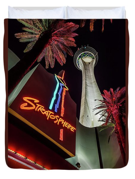 Duvet Cover featuring the photograph The Stratosphere Tower Entrance by Aloha Art