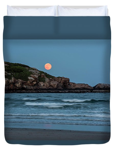 The Strawberry Moon Rising Over Good Harbor Beach Gloucester Ma Island Duvet Cover