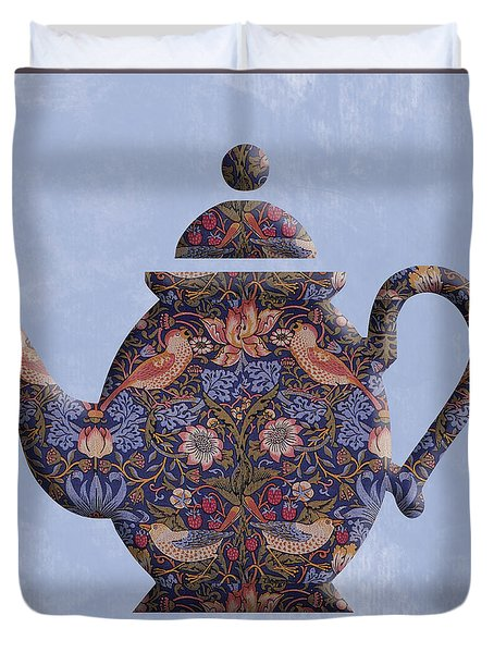 The Strawberry Thief Pattern Teapot Duvet Cover