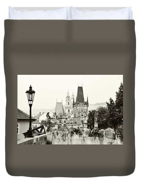 Duvet Cover featuring the photograph The Stream Of People On Charles Bridge. Prague by Jenny Rainbow