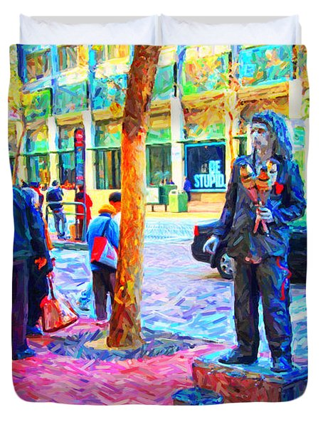 The Street Performer . Photo Artwork Duvet Cover by Wingsdomain Art and Photography