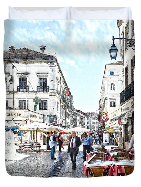 The Streets Of Old Lisbon Duvet Cover