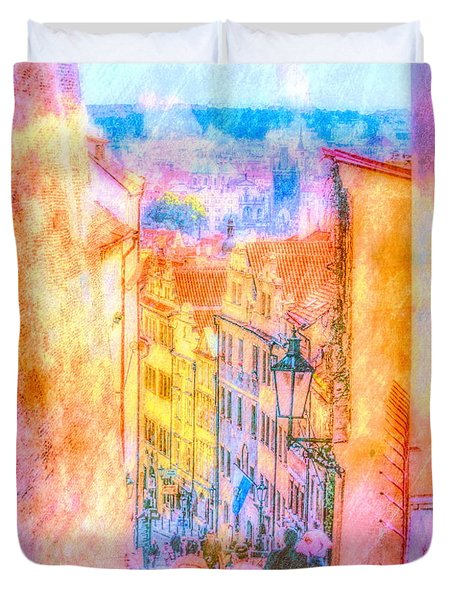 The Streets Of Prague Duvet Cover