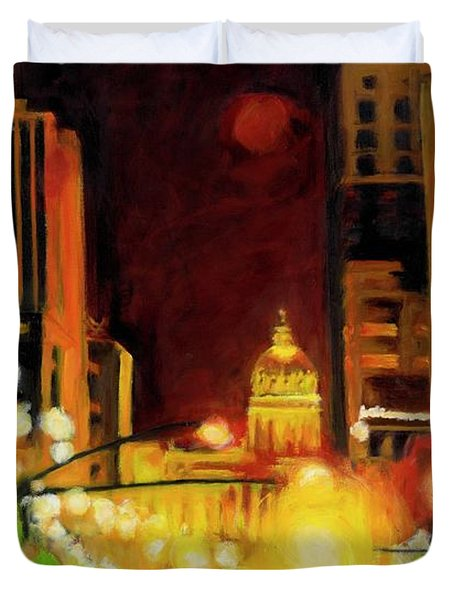 The Streets Run With Crimson And Gold Duvet Cover
