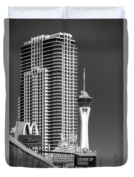 The Strip And The Stratosphere Duvet Cover by Wade Brooks