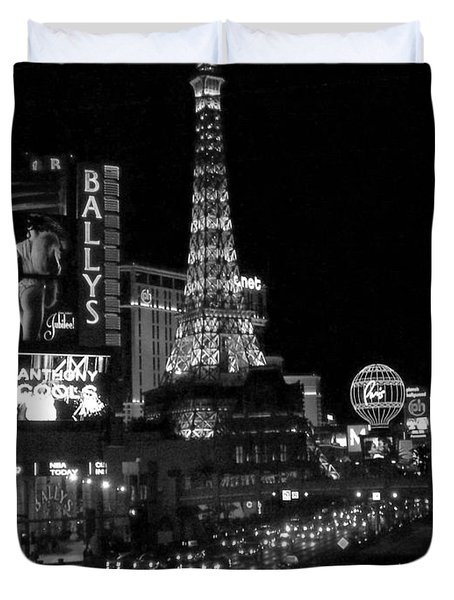 The Strip By Night B-w Duvet Cover