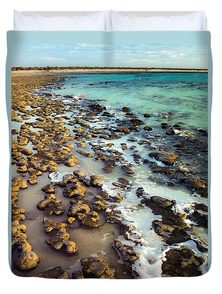 Duvet Cover featuring the photograph The Stromatolite Family Enjoying Its 1277500000000th Sunset by T Brian Jones