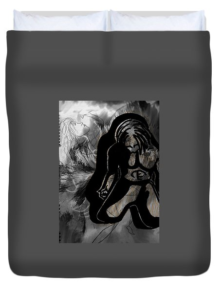 Duvet Cover featuring the drawing The Struggle Within by Sheila Mcdonald