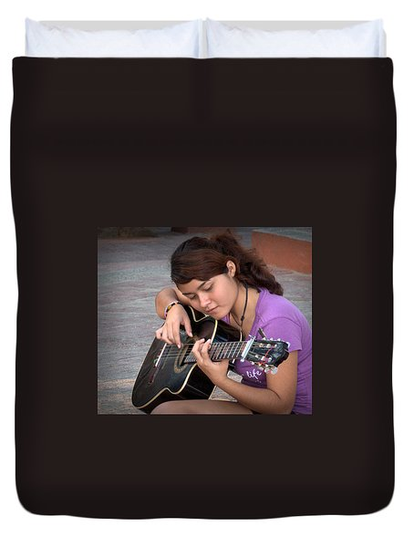 Duvet Cover featuring the photograph The Student by Jim Walls PhotoArtist