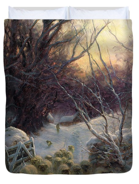 The Sun Had Closed The Winter Day Duvet Cover by Joseph Farquharson