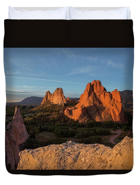 The Sun Illuminates The Red Rock Formation At The Garden Of The  Duvet Cover