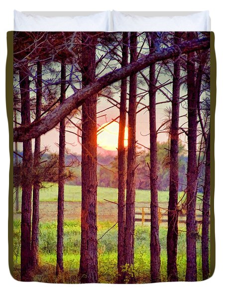 Duvet Cover featuring the photograph The Sun Pines Away by Jan Amiss Photography