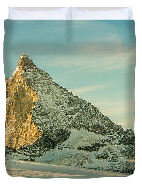 The Sun Sets Over The Matterhorn Duvet Cover