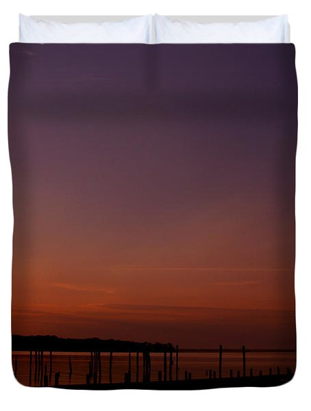 The Sun Sets Over The Water Duvet Cover by Clayton Bruster