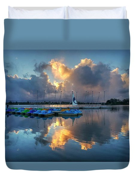 Duvet Cover featuring the photograph The Sun Settles At The Shoreline by Peter Thoeny