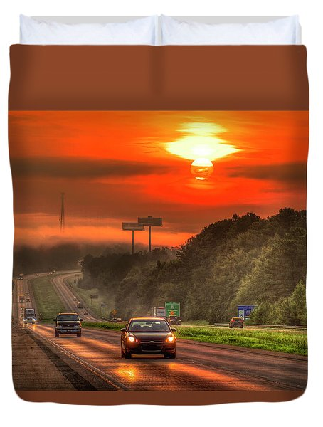 The Sunrise Commute Georgia Interstate 20 Art Duvet Cover
