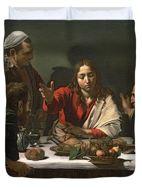 The Supper At Emmaus Duvet Cover by Caravaggio