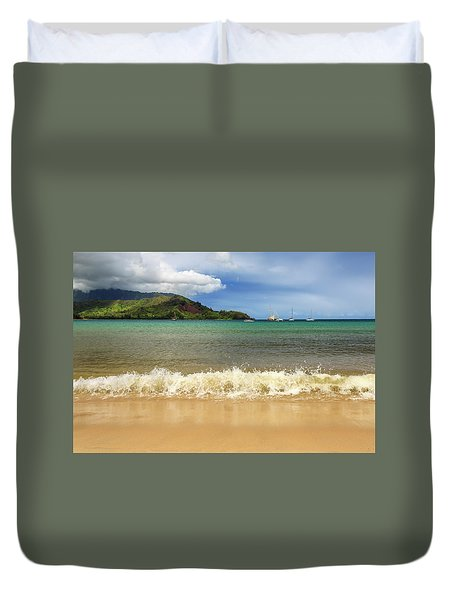 The Surf At Hanalei Bay Duvet Cover