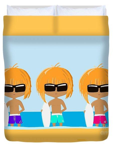 The Surfing Triplets Duvet Cover
