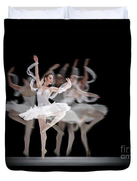 Duvet Cover featuring the photograph The Swan Ballet Dancer by Dimitar Hristov