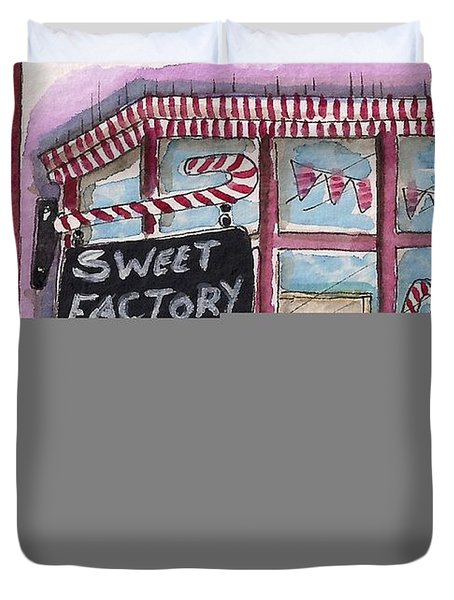 The Sweet Factory Duvet Cover by Lucia Stewart