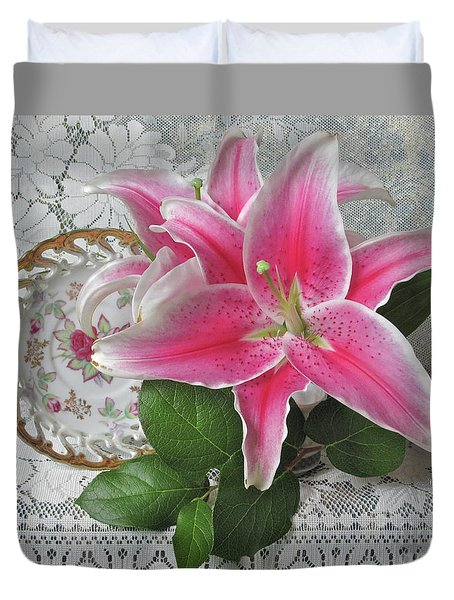 Duvet Cover featuring the photograph The Sweetest Glow by Nancy Lee Moran