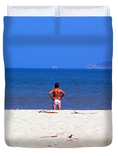 Duvet Cover featuring the photograph The Swimmer by Ethna Gillespie