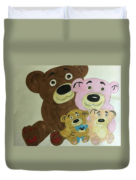 The Teddy Family  Duvet Cover