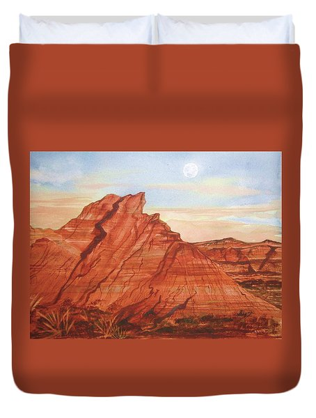 Duvet Cover featuring the painting The Teepees by Ellen Levinson