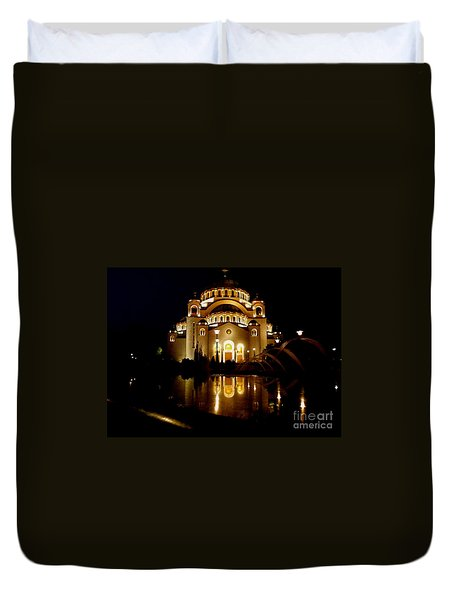 Duvet Cover featuring the photograph The Temple Of Saint Sava In Belgrade  by Danica Radman