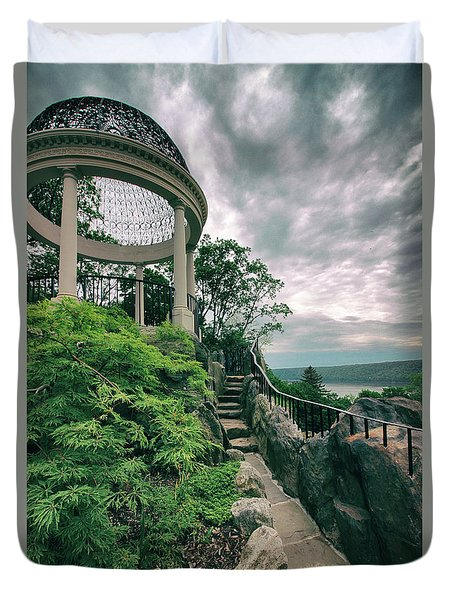 The Temple Walkway Duvet Cover by Jessica Jenney