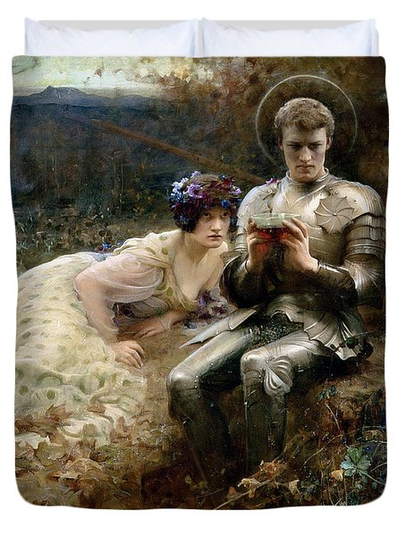 The Temptation Of Sir Percival Duvet Cover by Arthur Hacker