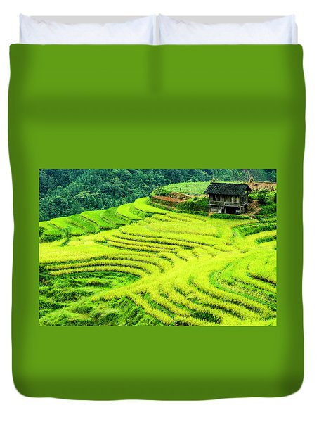 Duvet Cover featuring the photograph The Terraced Fields Scenery In Autumn by Carl Ning