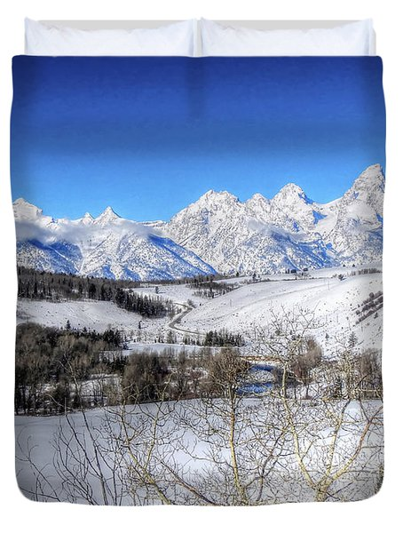 The Tetons From Gros Ventre Valley Duvet Cover