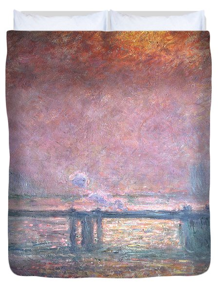 The Thames At Charing Cross Duvet Cover by Claude Monet