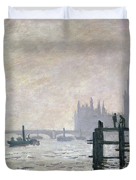 The Thames Below Westminster Duvet Cover by Claude Monet