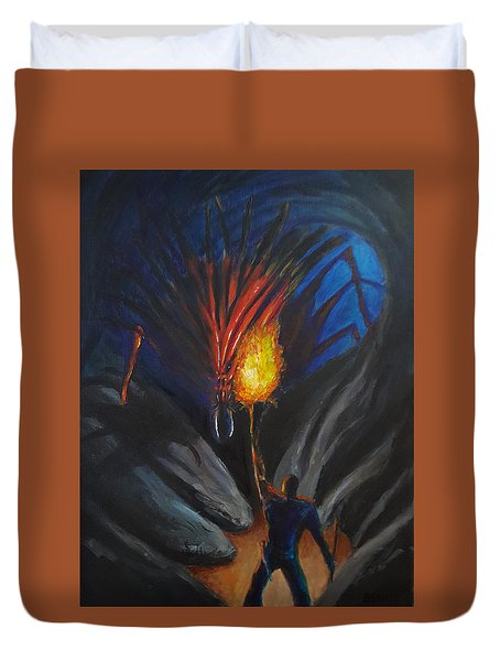 The Thing In The Cave Duvet Cover