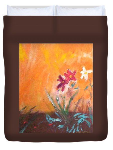 Duvet Cover featuring the painting The Three Daisies by Winsome Gunning