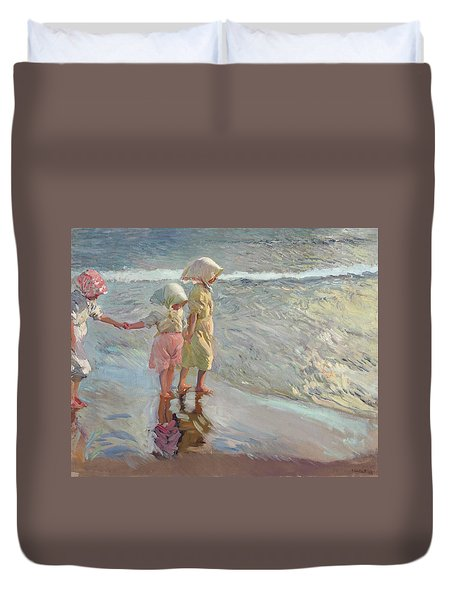 The Three Sisters On The Beach Duvet Cover
