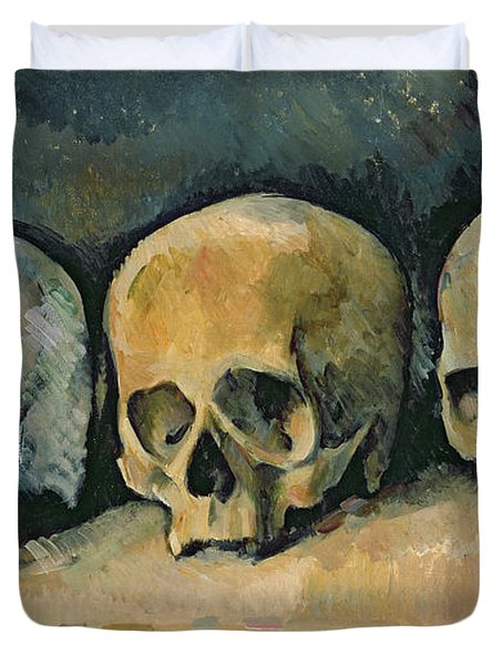 The Three Skulls Duvet Cover by Paul Cezanne