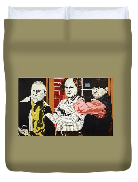 Duvet Cover featuring the painting The Three Stooges by Thomas Blood