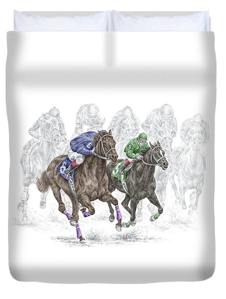 The Thunder Of Hooves - Horse Racing Print Color Duvet Cover by Kelli Swan