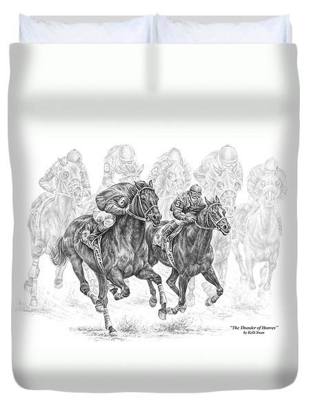 The Thunder Of Hooves - Horse Racing Print Duvet Cover