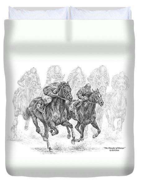 The Thunder Of Hooves - Horse Racing Print Duvet Cover